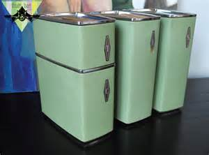 vintage metal kitchen canisters vintage metal kitchen lidded canister set 4 retro baking