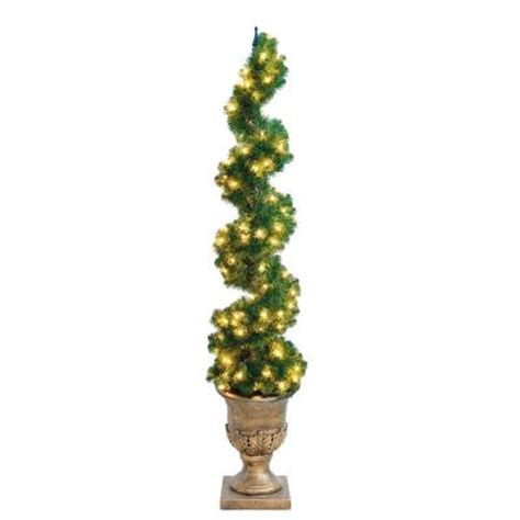 home accents holiday 6 ft pre lit spiral potted