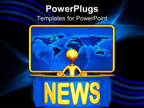powerpoint template golden 3d figure presenting news with