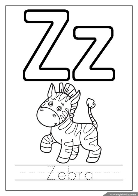 Letter Z alphabet coloring pages letters u z