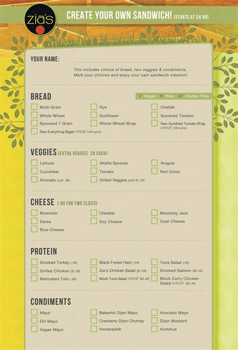design your menu create your own sandwich menu zia s