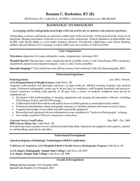 Radiologic Technologist Resume Exle Collegelife Resume Exles Sle Resume Resume Tech Resume Template
