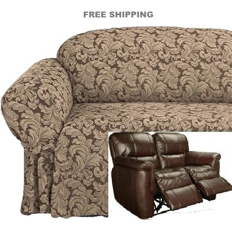reclining couch slipcovers dual reclining loveseat slipcover damask chocolate brown