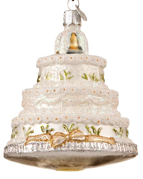 White Wedding Cake with Gold Ribbon   Personalized Ornament