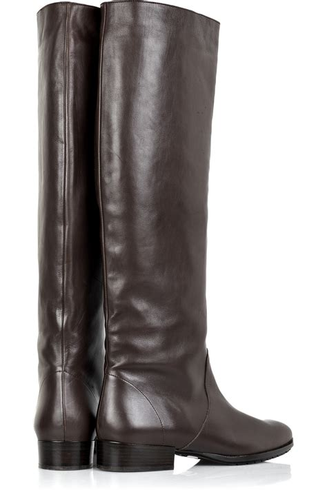 mens brown leather knee high boots michael kors flat leather knee high boots in brown lyst