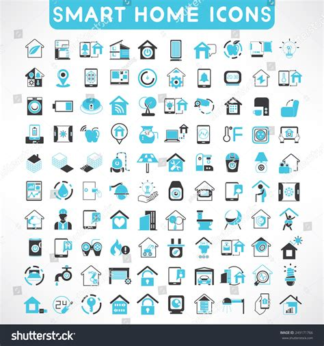 home automation icons set smart home stock vector