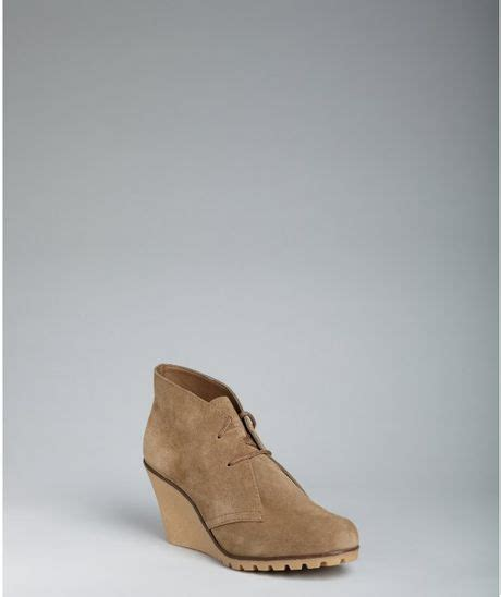 kelsi dagger taupe suede fanetta lace up wedge ankle boots