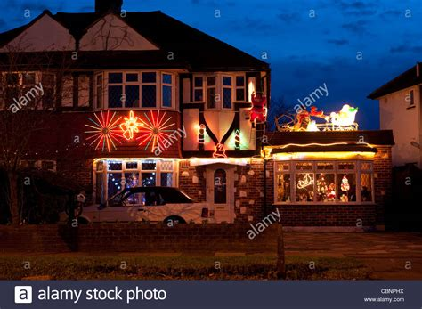 houses decorated with lights semi detached houses decorated with lights in