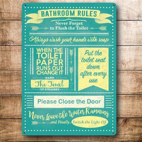 bathroom rules signs bathroom rules metal wall sign 5137