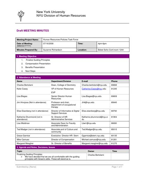 meeting minutes format printable documents