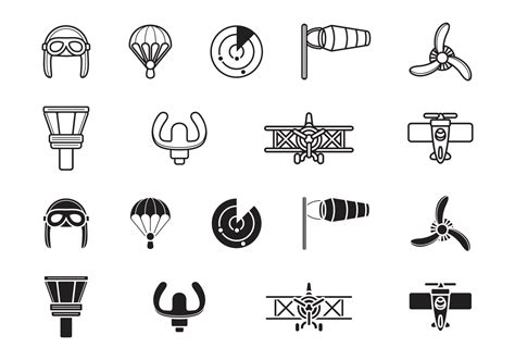biplane aviation icons   vectors clipart
