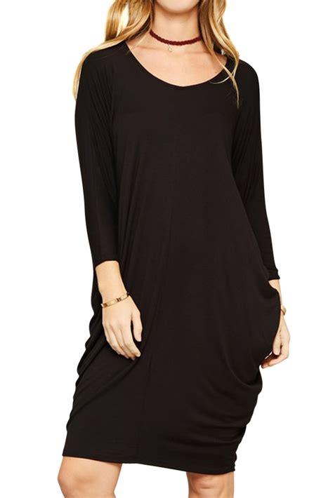 Batwing Black Semi Jersey usa neck dolman batwing sleeve draped