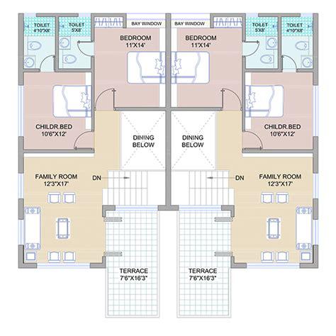 twin bungalow floor plans in india twin bungalow floor plans in india