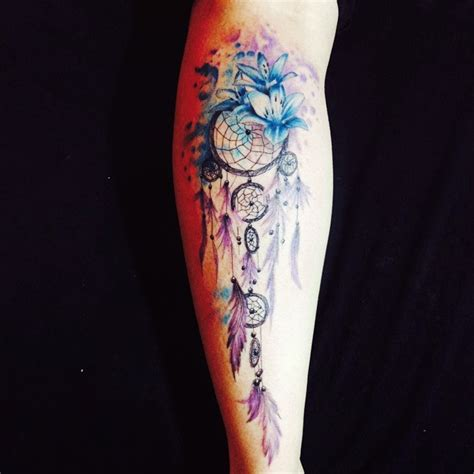 dreamcatcher tattoo with lily 56 awesome colorful dreamcatcher tattoos