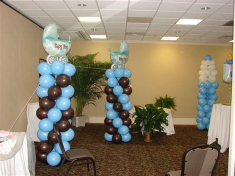 When Are Baby Showers Held by Baby Shower Balloon Columns In Nursery Theme Colors These