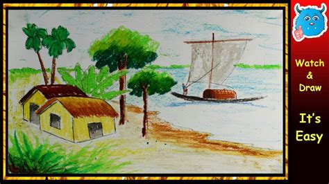 how to draw a boat with oil pastels how to draw village scenery with oil pastel step by step