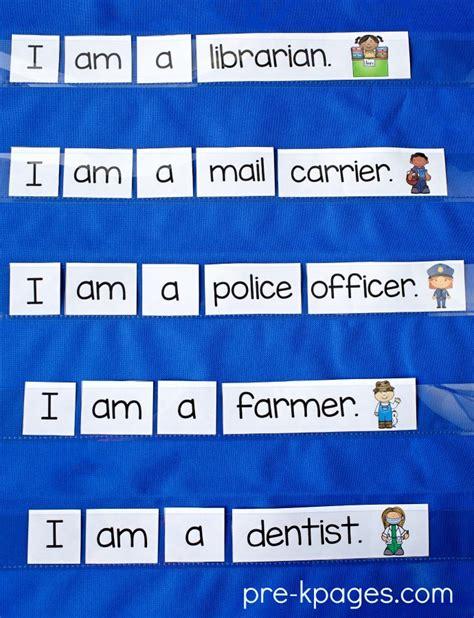 sentence pattern helper pre k kindergarten themes community helpers