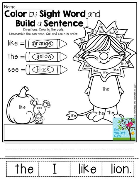 Kindergarten Sentence Building Worksheets by Color By Sight Word And Build A Sentence So Many And