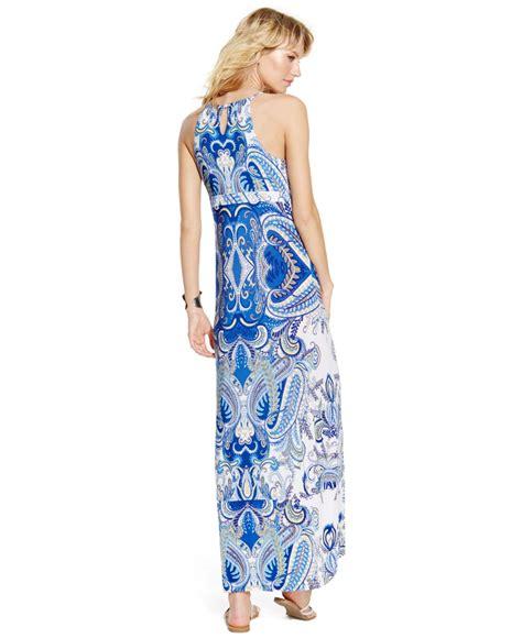 beaded halter maxi dress inc international concepts printed beaded halter maxi