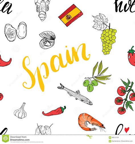 meal pattern in spanish spain seamless pattern doodle elements hand drawn sketch