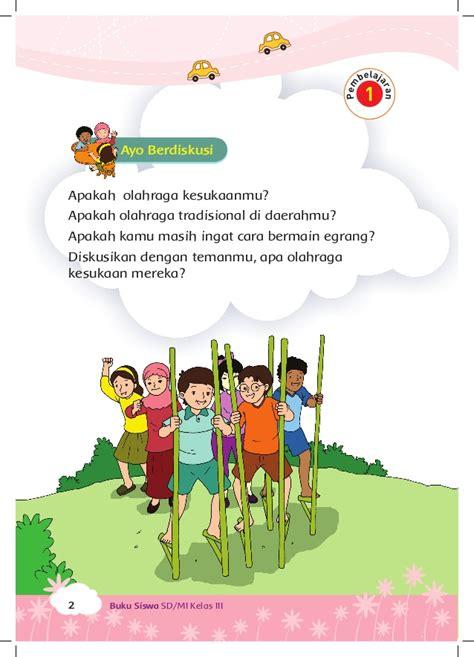 cara membuat poster olahraga permainan tradisional buku siswa kelas 3 tema 5
