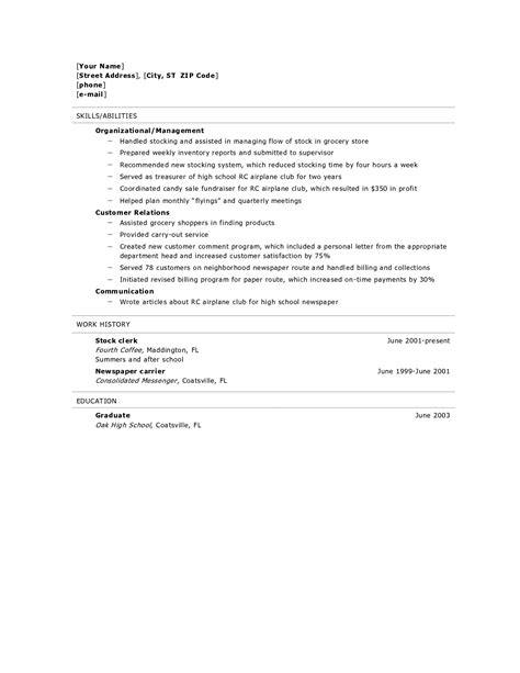 Highschool Resume Template by Resume For High School Graduate Resume Builder Resume