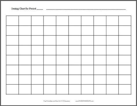 10x8 Horizontal Classroom Seating Chart Template Free Printable For Teachers K 12 Education Horseshoe Seating Chart Template