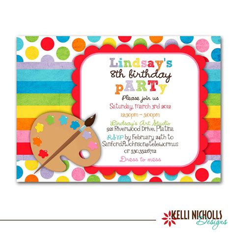 free printable art birthday invitations art birthday party invitation bright colors custom for