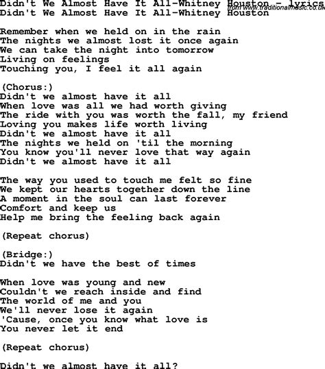 when we have love lyrics love song lyrics for didn t we almost have it all whitney