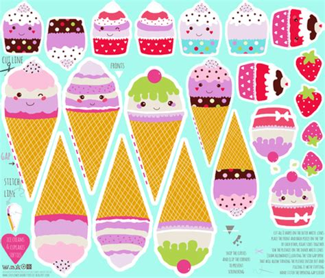 Papercraft Food Templates - 14 templates for play food images kawaii papercraft