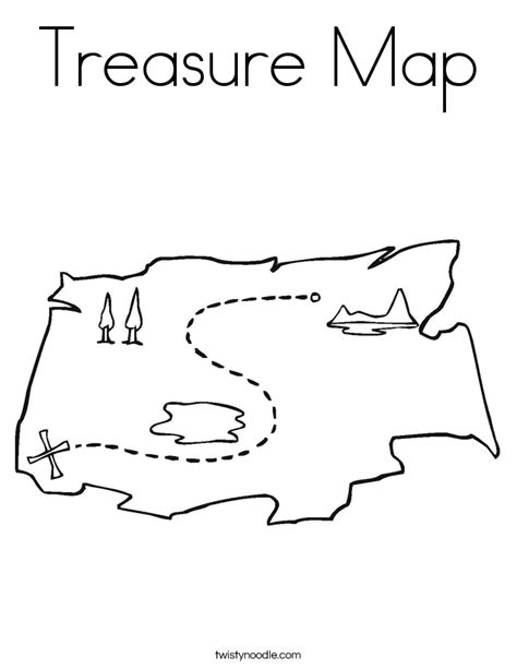Treasure Map Coloring Page Twisty Noodle Map Coloring Pages