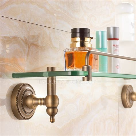 Vintage Bathroom Shelves Antique Bronze Single Wall Mounted Glass Shelves For Bathroom