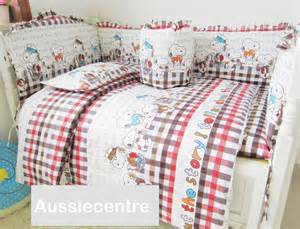 Snoopy Baby Crib Bedding Baby Bedding Crib Cot Side Bumpers Quilt Sheet Set Snoopy Story Brand New Ebay