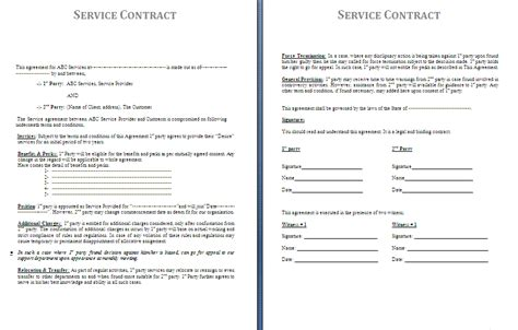 Contract For Services Template Free by Service Contract Template Free Contract Templates