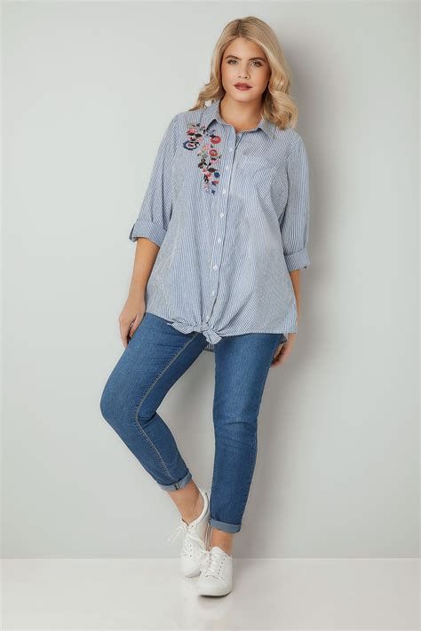 Can You Track A Visa Gift Card - blue white pinstripe shirt with floral embroidered patch plus size 16 to 36
