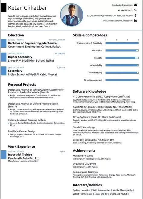 10 answers what is the best resume format for a mechanical engineering student quora