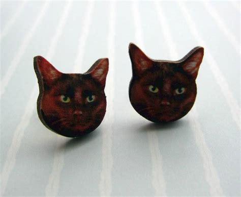 Black Cat Earring black cat stud earrings felt