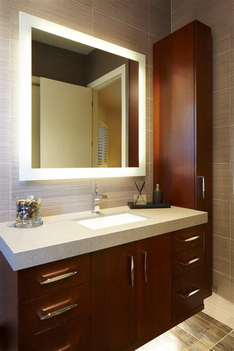 Lighted Bathroom Mirror Bathroom Contemporary With Lighted Mirrors For Bathrooms Modern