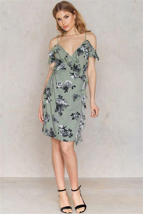 Gyefa Flowery Overlap Midi Skirt cold shoulder flower printed overlap dress na kd