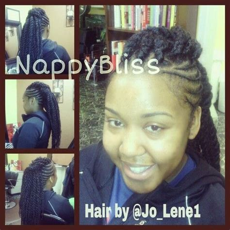 marley twist hair salon chicago cornrows with marley twists mohawk styled at nappybliss