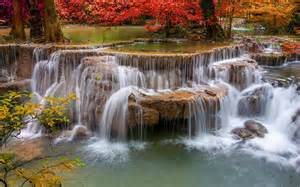 Wooden Computer Desk Autumn Leaves Charming Waterfall Wallpaper 9 Landscape