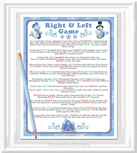 st on left or right instant download winter right and left story game christmas