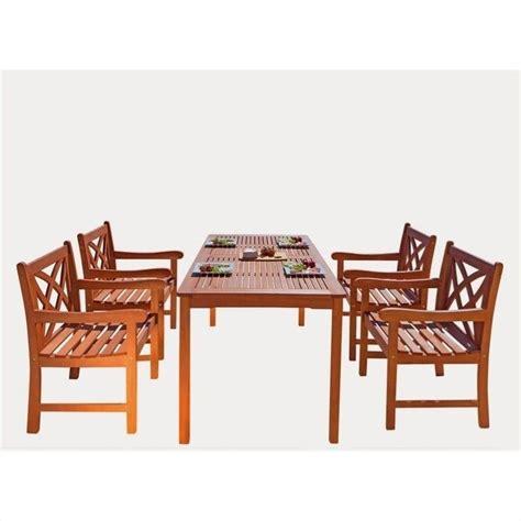 Wood Patio Dining Set 5 Wood Patio Dining Set V98set6