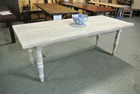 White Farmhouse Table by Custom White Washed Rustic Farm Table
