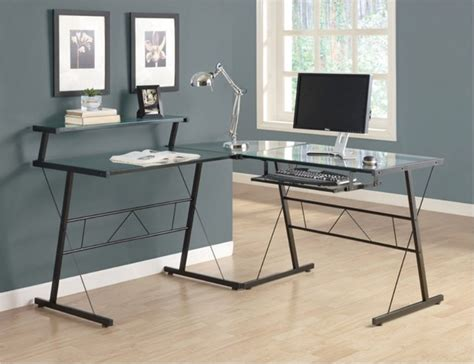 glass l shape computer desk with silver frame finish monarch black metal l shaped computer desk with tempered