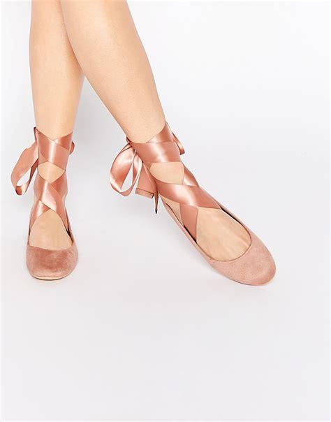 brautschuhe chagner flach bailarinas de antelina en tono con lazo de glamorous