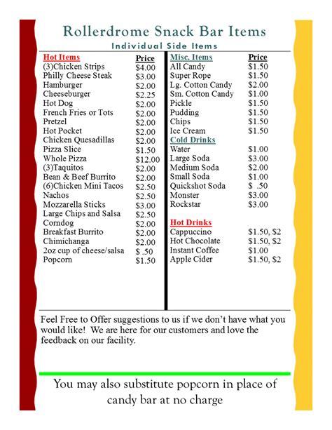 snack bar menu template snackbar menu na rollerdrome
