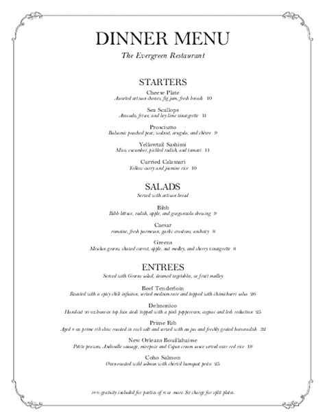 Tasting Menu Template Letter Catering Menus Dinner Menu Template
