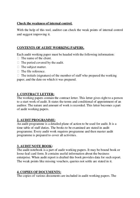 Audit Working Papers Audit Working Paper Template