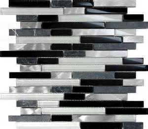 Wholesale Backsplash Tile Kitchen Sampl Black Gray Glass Natural Stone Metal Linear Mosaic